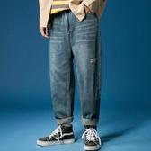夏季男士牛仔長褲子 直筒寬鬆薄款束腳韓版潮流潮牌百搭九分小腳褲 JX3208『男神港灣』