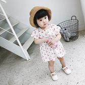女童櫻桃連衣裙2018韓版夏裝新款小童寶寶棉麻舒適短袖公主裙長裙