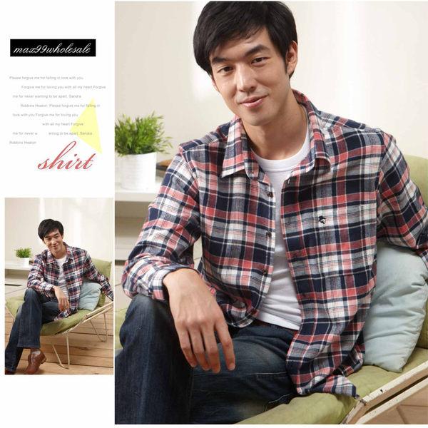 【大盤大】(S91798) 男 純棉襯衫 格紋上衣 長袖襯衫 全棉 純棉 格子休閒衫 禮物【僅剩M和L號】