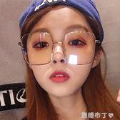 手機眼鏡防輻射抗藍光大臉復古方框斯文敗類眼鏡網紅款金絲男 焦糖布丁