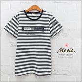 純棉 中大童 簡約條紋字母燙銀短袖上衣 寬鬆 T恤 短T 美式 韓版 男大童 條紋 哎北比童裝