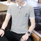 T恤衫 男士短袖t恤韓版襯衫領個性丅半袖翻領上衣服男裝polo衫