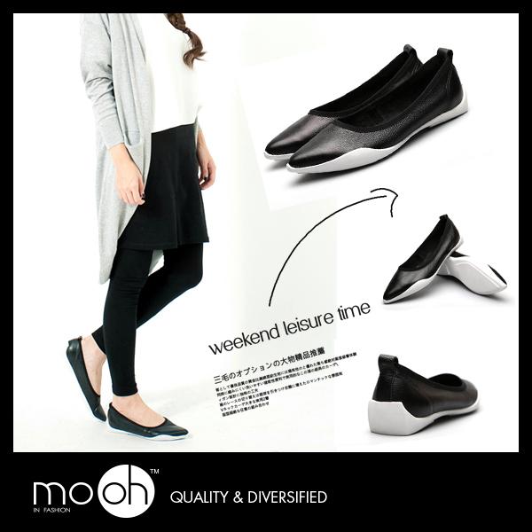 尖頭平底鞋 軟底黑白色真皮娃娃平底鞋 mo.oh (歐美鞋款)