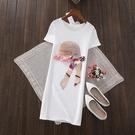 長版 短袖 韓版2021春夏新草帽飄帶修身顯瘦短袖中長款T恤女純棉大碼打底衫