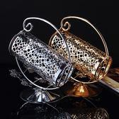 鋅合金紅酒架時尚葡萄酒架擺件 不銹鋼酒托 歐式創意鍍銀色酒架   igo可然精品鞋櫃