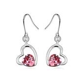 水晶耳環 925純銀(耳針式)-唯美雙心生日情人節禮物女飾品6色73bc39【時尚巴黎】