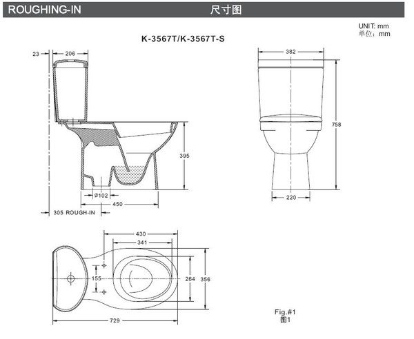 【麗室衛浴】 美國 KOHLER Patio 雙體馬桶 K-3567K-0