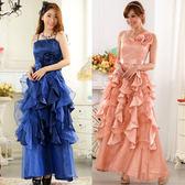 中大尺碼~亮片大擺公主裙吊帶長款禮服(花可拆)(F~3XL)