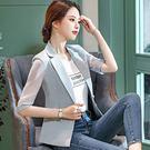 美之札[9S049-PF]西裝領透氣薄紗袖上班/休閒五分袖西裝外套~