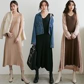 MIUSTAR V領粗坑條彈力針織長版背心洋裝(共3色)【NJ2599】預購
