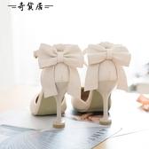 日韓夏包頭高跟細跟一字扣帶甜美蝴蝶結洛麗塔lolita軟妹學生涼鞋