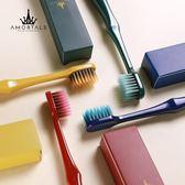牙刷超軟毛寬頭成人兩只裝情侶裝竹炭纖維