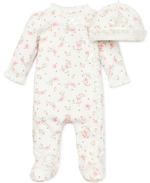 【美國Little Me】包腳連身衣套裝二件組- 優雅玫瑰系列 L653860