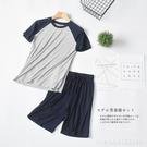 居家服 莫代爾睡衣男士家居服套裝薄款寬鬆夏季半袖T恤冰絲兩件套可外穿 星河光年