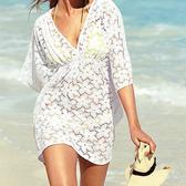罩衫 蕾絲 鏤空 V領 鬆緊腰 空調衫 沙灘 比基尼 罩衫【ZS005】 ENTER  04/26