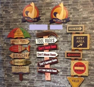 [協貿國際]   指路牌壁掛咖啡廳牆上裝飾品軟裝裝飾品  (1入)