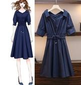 中大尺碼連身裙洋裝胖mm夏裝200斤洋氣减齡寬鬆純棉襯衫連衣裙R18.8385.皇潮天下