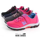 [Here Shoes]繽紛撞色拼接舒適伸縮帶魔鬼氈運動鞋休閒鞋─AN1804