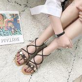 涼鞋女夏平底韓版學生一字帶交叉細帶纏繞少女孕婦防滑平跟沙灘鞋 俏女孩