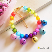狗狗寵物項鍊貓咪項圈飾品彩虹色貓咪狗狗糖果色鈴鐺項鍊掛飾