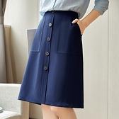 A字裙-高腰對稱大口袋單排扣女裙子74am7【巴黎精品】