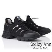 ★2019春夏★Keeley Ann輕運動潮流 炫彩拼接膠片元素休閒鞋(黑色) -Ann系列