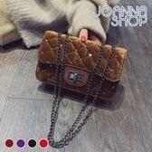 斜背包 臨睡習慣光面絨布菱珠珠斜背包-Joanna Shop