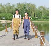 捕魚褲 半身下水褲捕魚皮叉釣魚防水涉水衣服連體雨褲雨鞋加厚  晶彩生活