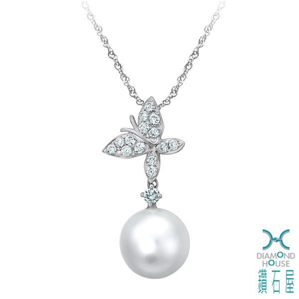 ﹝鑽石屋﹞11mm南洋珍珠鑲鑽蝴蝶墜子