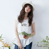 Victoria  真二件蕾絲珠飾落肩短袖T-女-白色