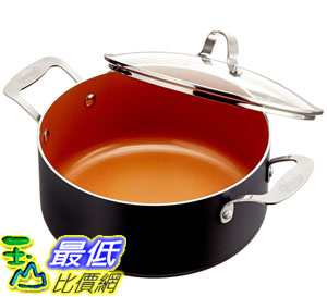 [8美國直購] 陶瓷不沾鍋 GOTHAM STEEL 5-Quarts (4.7 liters capacity) Stock Pot with FREE Lid B01DMONN2M