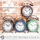 時鐘 LOFT工業風 復古懷舊配色傳統打鈴鬧鐘造型 金屬鐵藝做舊座鐘 店面創意時鐘-米鹿家居
