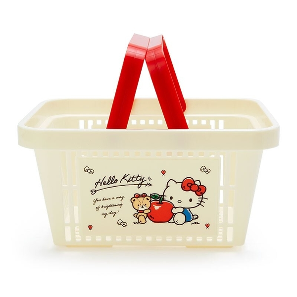 小禮堂 Hello Kitty 塑膠手提置物籃 購物提籃 浴室收納籃 瓶罐架 (米紅 蘋果) 4550337-73888