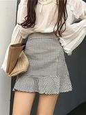 短裙 格子半身裙女2021夏季新款荷葉邊A字短裙高腰修身顯瘦包臀魚尾裙 霓裳細軟