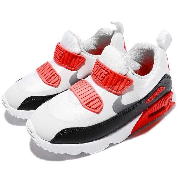 Nike 復古慢跑鞋 Air Max Tiny 90 TD 灰 黑 白 免綁鞋帶 氣墊 休閒鞋 童鞋 小童鞋【PUMP306】 881924-002