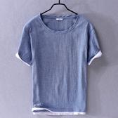 棉麻T恤-純色圓領寬鬆透氣短袖男上衣4色73xf27【巴黎精品】