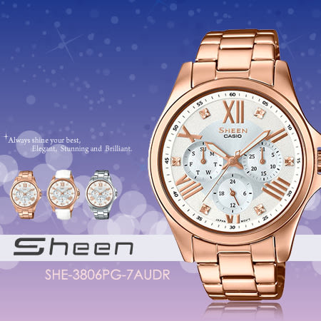 Sheen 個性甜美 39mm/SHE-3806PG-7A/Swarovski/SHE-3806PG-7AUDR 現貨!