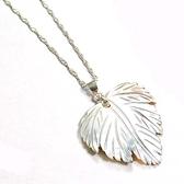 天然貝殼美麗枝葉純銀項鍊