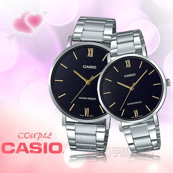 CASIO 手錶專賣店 MTP-VT01D-1B+LTP-VT01D-1B 簡約指針對錶 不鏽鋼錶帶 黑色錶面 日常生活防水