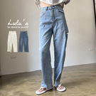 LULUS【A04210166】E大腿割破直筒長褲M-XL2色
