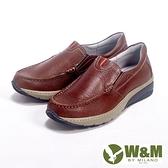 【南紡購物中心】【W&M】Fit 系列健走健塑鞋 亮皮直套休閒男鞋-咖