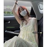 溫柔風蕾絲V領碎花吊帶裙女裝夏季淡黃色無袖洋裝長裙ins裙子 錢夫人小舖