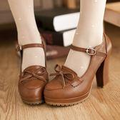 韓版可愛學院復古公主蝴蝶結高跟單鞋 日系厚底防水臺粗跟女鞋子