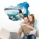 【海上衝浪牆貼】60x90創意3D立體視覺無痕貼紙 家居客廳玄關浴室地面牆壁貼 防水裝飾地板貼