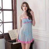 大尺碼Annabery粉藍蕾絲二件式柔紗睡衣 情趣內睡衣 《SV8108》快樂生活網
