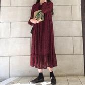 波點系帶蝴蝶結連身裙女2019春裝新款韓版寬鬆腰顯瘦網紅百褶裙子
