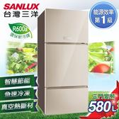 贈不鏽鋼保鮮盒 SANLUX台灣三洋 冰箱 580L三門直流變頻冰箱 SR-C580CVG 含原廠配送及拆箱定位