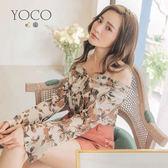 東京著衣【YOCO】甜蜜一字領綁帶兩穿喇叭袖印花上衣-S.M.L(180582)