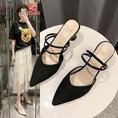 包頭拖鞋新款春夏百搭網紅兩穿涼鞋粗跟懶人尖頭黑色高跟女鞋 依凡卡時尚
