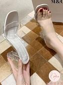 涼鞋女夏百搭一字帶粗跟涼拖鞋女外穿水晶透明高跟鞋【大碼百分百】